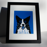 BORDER COLLIE DOG  ORIGINAL LINOPRINT ON BLUE - FREE POSTAGE