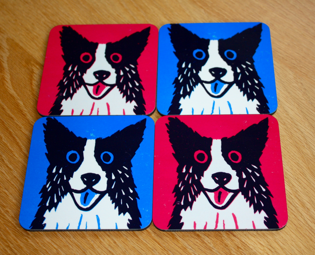 COLLIE DOG COASTERS-SINGLES -FREE POSTAGE