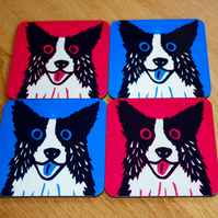 COLLIE DOG SINGLE COASTERS