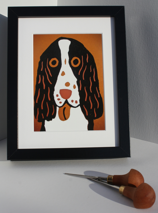 ORANGE DOG-GICLEE PRINT-FRAMED IN BLACK-FREE POSTAGE