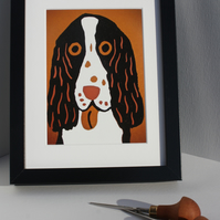 ORANGE DOG-GICLEE PRINT OF MY LINOCUT OF A HAPPY SPANIEL :) FRAMED IN BLACK