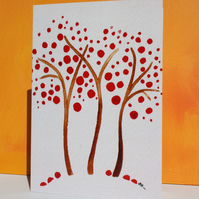 RED TREE GREETINGS CARD-a watercolour blossom tree BLANK FOR YOUR OWN MESSAGE
