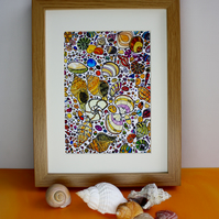 SHELLS ON THE SHORE-PEN AND WATERCOLOUR SKETCH-GICLEE PRINT - WOOD EFFECT FRAME