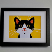 HAPPY CAT LINOCUT FRAMED  -LIMITED EDITION