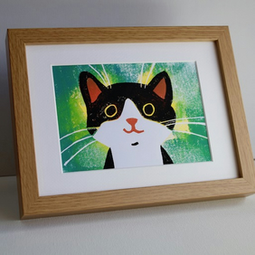 HAPPY CAT LINOCUT FRAMED -LIMITED EDITION-ONE ONLY!