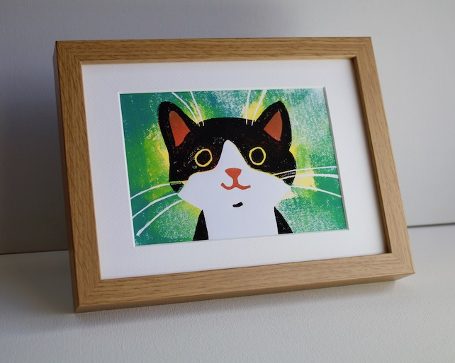 HAPPY CAT LINOCUT FRAMED - GICLEE PRINT