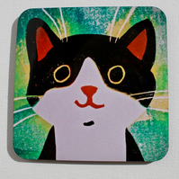 BLACK AND WHITE CAT ON GREEN-SINGLE COASTER-POSTAGE FREE