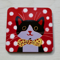 BLACK AND WHITE CAT RED COASTER-SINGLE-POSTAGE FREE