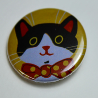 LITTLE BLACK AND WHITE CAT WITH A BOW TIE-BADGE-POSTAGE FREE