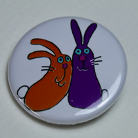 CUTE RABBITS BADGE-FREE POSTAGE