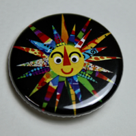 HERE COMES THE SUN BUTTON BADGE-POSTAGE FREE