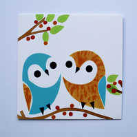 TWO CUTE OWLS BLANK GREETINGS CARD -FOR THE OWL LOVER IN YOUR LIFE!