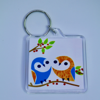 TWO CUTE OWLS KEYRING-POSTAGE FREE