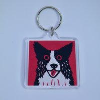 BORDER COLLIE DOG ON DARK PINK KEYRING-FREE POSTAGE
