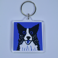 BORDER COLLIE DOG ON BLUE KEYRING-FREE POSTAGE
