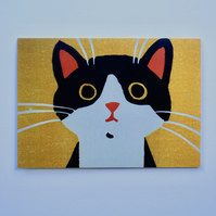 BLACK AND WHITE CAT ON YELLOW BACKGROUND GREETINGS CARD