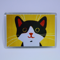 YELLOW HAPPY CAT FRIDGE MAGNET-FREE P&P