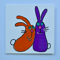 RABBITS-SINGLE GREETINGS CARD BLANK FOR YOUR OWN MESSAGE