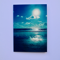 CORNISH BEACH SUNSET GREETINGS CARD BLANK FOR YOUR OWN MESSAGE