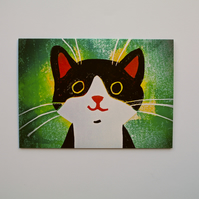 HAPPY CAT (GREEN) - BLANK GREETINGS CARD