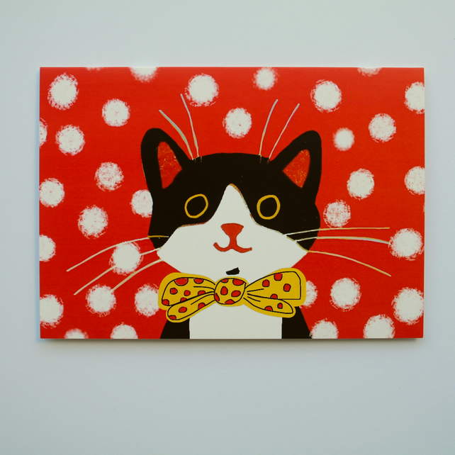 DOTTY CAT BLANK GREETINGS CARD