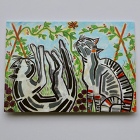 CATS IN THE VEG PLOT-BLANK GREETINGS CARD