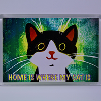 GREEN HAPPY CAT FRIDGE MAGNET-FREE P&P