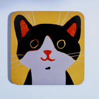 HAPPY CAT ON YELLOW-SINGLE COASTER-FREE POSTAGE