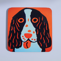 ORANGE SPANIEL DOG COASTER
