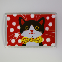 DOTTY CAT FRIDGE MAGNET-FREE P&P