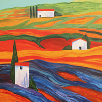 THREE TUSCAN FARMS-ORIGNAL ACRYLIC PAINTING