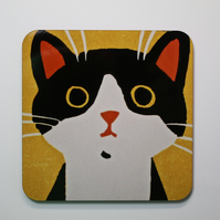 BLACK AND WHITE CAT COASTER-SINGLE-FREE POSTAGE