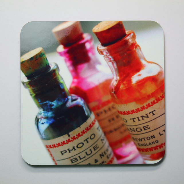 Six Photo-Tint Bottle Coasters-FREE POSTAGE