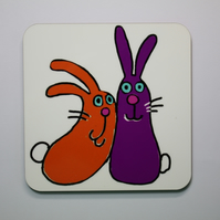 RABBITS-SINGLE COASTER-FREE POSTAGE