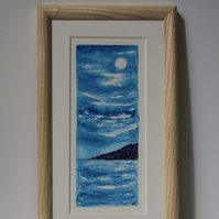 MOONLIGHT OVER THE BAY-AN ORIGINAL WATERCOLOUR PAINTING FRAMED IN ASH