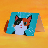 GINGER AND BLACK CAT BLANK GREETINGS CARD