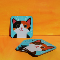 GINGER AND BLACK CAT COASTER-