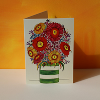 GERBERA JAR-BLANK CARD FOR YOUR OWN MESSAGE