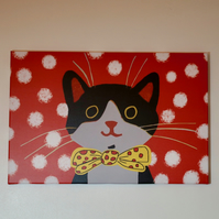 DOTTY CAT LINOCUT-PRINT ON CANVAS