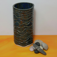 DEEP OCEAN BLUE CERAMIC VASE-'NIGHT SWIMMING''