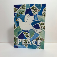 A5 Peace Dove Seasonal or Christmas Greetings Card-blank for your own message