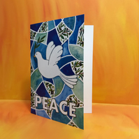 Pack of 4 A5 Peace Dove Seasonal or Christmas Greetings Card-blank inside
