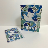 A6 Peace Dove Seasonal or Christmas Greetings Card-blank for your own message