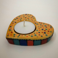 BOXED CERAMIC HEART SHAPED CANDLE HOLDER