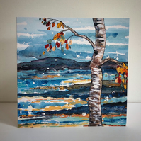 SILVER BIRCH SHIMMY-BLANK GREETINGS CARD