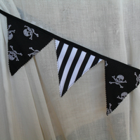 Pair of Black & White Pirate Bunting Curtain Tie Backs