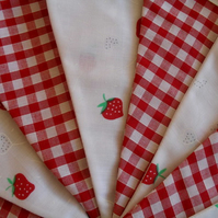 Strawberry & Red Gingham Check Cotton Bunting 5m
