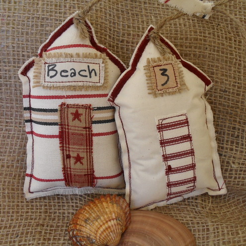 Pair of Shabby Primitive Hanging Beach Huts