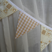 Pair of Coffee & Cream Nursery Fabric Bunting Curtain Tie Backs