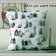 Happy Days Cream Fabric Cushion Cover With Red & Blue Beach Huts